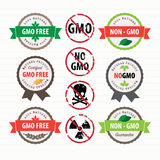 GMO Free stamps and labels set. Vector illustration. GMO Free stamps and labels set Royalty Free Stock Images