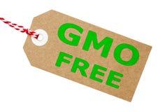 GMO fri brun kortetikett med rad Arkivfoto