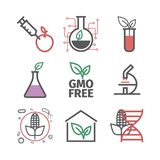GMO. Genetically modified organism. Line icons set. Vector signs for web graphics. GMO. Genetically modified organism. Line icons set. Vector signs for web royalty free illustration