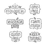 Gmo and gluten free, bio ecological, natural. Badges or labels for your product design. Gmo free, gluten free, bio ecological, natural, vegetarian elements set Royalty Free Stock Images
