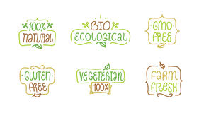 Gmo and gluten free, bio ecological, natural. Bages or labels for your product design. Gmo free, gluten free, bio ecological, natural, vegeterian elements set Stock Images