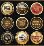 Gmo and gluten free label collection. Illustration Stock Photo