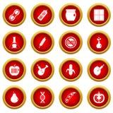 GMO icon red circle set. Isolated on white background Royalty Free Stock Photos