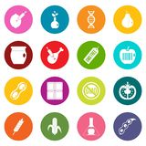 GMO icons many colors set. Isolated on white for digital marketing Stock Images