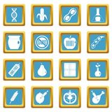 GMO icons azure. GMO icons set in azur color isolated vector illustration for web and any design Royalty Free Stock Image