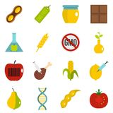 GMO icons set in flat style. Isolated vector illustration Stock Images