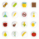 GMO icons set in flat style. Isolated vector icons set illustration Stock Photography