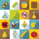 GMO icons set food, flat style. GMO icons set food. Flat illustration of 16 GMO food vector icons for web Royalty Free Stock Photography