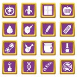 GMO icons set purple. GMO icons set in purple color isolated vector illustration for web and any design Royalty Free Stock Photography
