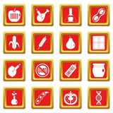 GMO icons set red. GMO icons set in red color isolated vector illustration for web and any design Royalty Free Stock Photos