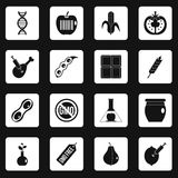 GMO icons set squares vector. GMO icons set in white squares on black background simple style vector illustration Royalty Free Stock Image