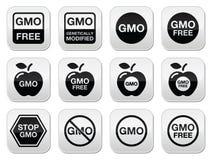 GMO jedzenie, żadny bezpłatne ikony ustawiający, GMO lub GMO ilustracja wektor