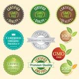 GMO non GMO gratuit et logo organique d'étiquette de garantie marquent l'autocollant d'emblème Image stock