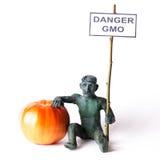 GMO pojęcia niebezpieczeństwa postać mężczyzna Obraz Royalty Free