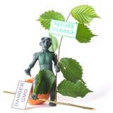 GMO pojęcia niebezpieczeństwa postać mężczyzna Zdjęcia Royalty Free