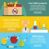 GMO produktów sztandaru horyzontalny set, mieszkanie styl Fotografia Royalty Free