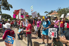 GMO protest in San Diego, California. Stock Photo