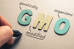 GMO. Wood letters of GMO and hand writing definition royalty free stock photo