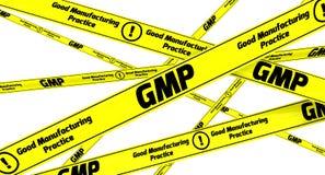 GMP Bonne pratique en matière de fabrication pour les produits pharmaceutiques Dispositifs avertisseurs jaunes illustration stock