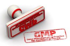 GMP Bonne pratique en matière de fabrication pour les produits pharmaceutiques Joint et empreinte illustration stock