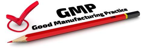 GMP Good manufacturing practice Het teken vector illustratie