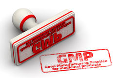 GMP. Good Manufacturing Practice for medicinal products. Seal and imprint Stock Photos