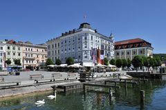 gmunden大厅方形城镇 免版税库存图片