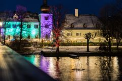 Gmunden, Advent, Schloss, christmas market on the lake traunsee Royalty Free Stock Images
