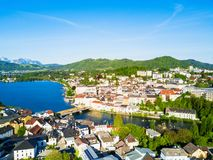 Gmunden aerial view, Salzkammergut. Gmunden town lakeside and Traunsee lake aerial panoramic view, Austria. Gmunden is a town in Salzkammergut region in Upper Royalty Free Stock Photos