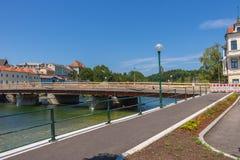 GMUNDEN, AUSTRIA Lipiec 21, 2017: Plac budowy most G Zdjęcia Royalty Free