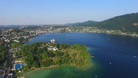 Gmunden. Sail, Schloss Orth is a castle situated on lake Traunsee in Gmunden Austria, alps, Salzburg stock video footage
