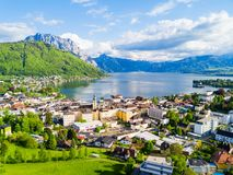 Gmunden aerial view, Salzkammergut. Gmunden town lakeside and Traunsee lake aerial panoramic view, Austria. Gmunden is a town in Salzkammergut region in Upper Stock Image