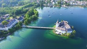 Gmunden, Traunsee, Lake Austria summer. Sail, Schloss Ort is a castle situated on lake Traunsee in Gmunden Austria, alps, Salzburg stock video