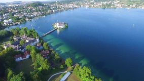 Gmunden, Traunsee, Lake Austria summer. Sail, Schloss Orth is a castle situated on lake Traunsee in Gmunden Austria, alps, Salzburg stock footage