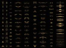 Gnäggandelinjer och gamla dekorbeståndsdelar i vektor Arkivfoton