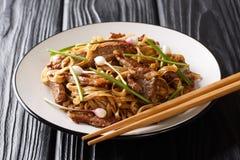Gnälla Chow Funär en populär kinesisk Cantonese nudelmaträtt med extra breda risnudlar, sötad sesamsoyacloseup på royaltyfria bilder