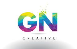 GN G N Colorful Letter Origami Triangles Design Vector. vector illustration