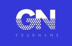 GN G N Dotted Letter Logo Design with Blue Background. vector illustration