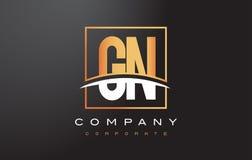 GN G N Golden Letter Logo Design with Gold Square and Swoosh. stock illustration