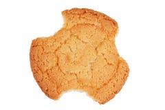 Gnaw delicious shortbread round. On a white background stock photos