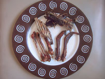 Gnawed chicken bones on a platter. Abstract. Gnawed chicken bones on a platter stock photo