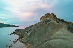 Gnejna和金黄海湾马耳他 免版税库存图片