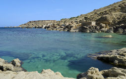 Gnejna Bay - Malta. Beautiful coast of the Maltese islands in the northern part of the island Stock Photos