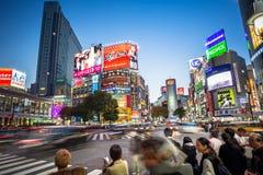 Gångareövergångsställe på det Shibuya området i Tokyo, Japan Arkivbilder