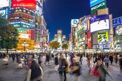 Gångareövergångsställe på det Shibuya området i Tokyo, Japan Royaltyfria Bilder