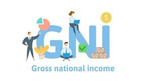 GNI brutto- akronym för nationell inkomst Begrepp med nyckelord, bokstäver och symboler Plan vektorillustration Isolerat på royaltyfri illustrationer