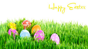 Gniazdeczko ręki malujący Wielkanocni jajka obrazy stock