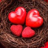 Gniazdeczko z sercami obraz stock