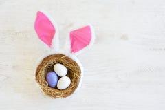 Gniazdeczko z trzy barwił Wielkanocnych jajka i królików ucho na Wielkanocnym dniu w domu Odświętności wielkanoc przy wiosną Zdjęcie Royalty Free
