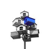 Gniazdować pudełka popielaci i błękit kolory Fotografia Royalty Free